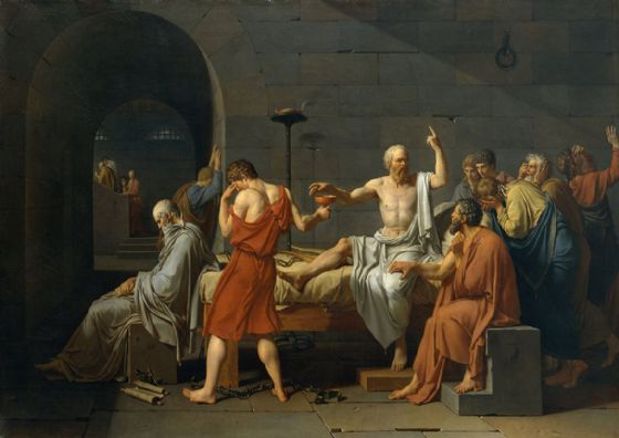 David, Jacques Louis: The Death of Socrates (Classical Greek Philosopher), 1787. Ancient Greek Fine Art Print/Poster. Sizes: A4/A3/A2/A1 (00221)
